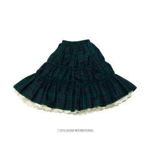 50 ナチュラルガーリー♪ティアードスカート(グリーンチェック) [アゾン 50cm人形用洋服]|acodolls