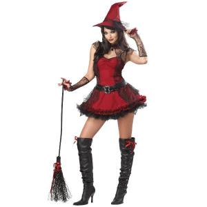 魔女 魔法使い 衣装 ハロウィン ハロウィーン いたずら魔女 大人用コスチューム|acomes