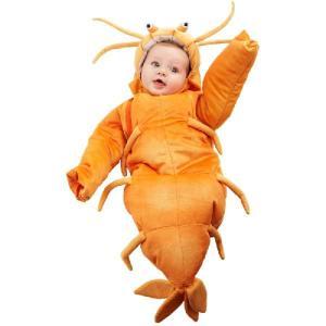 おくるみ ベビー コスチューム パジャマ エビちゃん 着ぐるみ きぐるみ キャラクター 赤ちゃん 子供 コスプレ|acomes