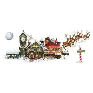 クリスマス飾り サンタクロースのそりとワークッショプ壁飾り ツリー ケーキ イルミネーション acomes