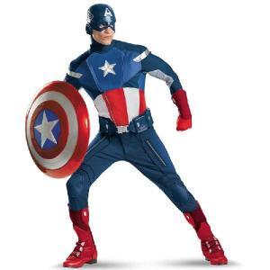 大きいサイズ キャプテンアメリカ コスチューム コスプレ 衣装 大人 劇場版 スーツ アベンジャーズ キャラクター|acomes