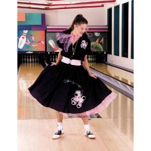 ハロウィン 大きいサイズ レディース スカート 50's プードルスカート 黒/ピンク 大人用コスチューム|acomes