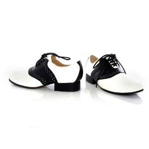 新生活 レディース 靴 大きいサイズ もある 50's シューズ 白黒サドルシューズ ハロウィン コスプレ 大人用 オールディーズ レトロ|acomes