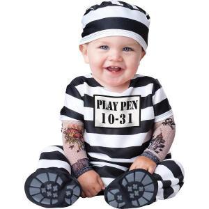 ベビー服 着ぐるみ コスプレ 赤ちゃん 囚人 プリズナー 受刑者 ベビー用 幼児用 コスチューム スウィート・ベイビー|acomes