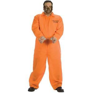 ハロウィン プレゼント 囚人服 コスプレ 精神異常独房者 大人用コスチューム 大きいサイズ|acomes