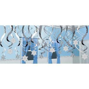 クリスマス パーティー 飾り グッズ 雪の結晶 らせん吊り飾り デコレーション acomes