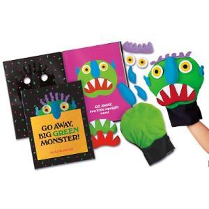 英語 教材 学習 子供 知育 絵本 パペット人形セット 「Go Away, Big Green Monster 」|acomes