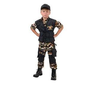 コスプレ 子供 衣装 男の子 人気 ミリタリー コスチューム ネイビーシールズ 海兵隊 特殊部隊 兵士 ソルジャー デラックスコスチューム|acomes