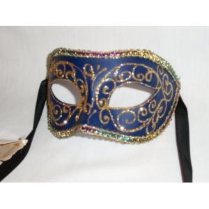 ベネチアン マスク 仮面舞踏会 パーティー ブルーとゴールド マスカレード|acomes