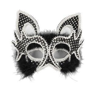 ベネチアン マスク 仮面舞踏会 パーティー デラックス ベネチアン黒猫マスク|acomes