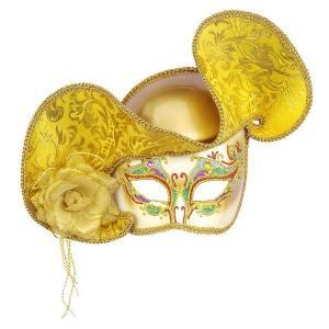 雑貨 グッズ ベネチアンマスク 金のベネチアンハーフマスク 帽子付き|acomes