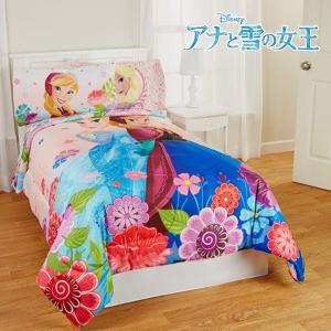 ディズニー アナと雪の女王 Frozen エルサ フローラルブリーズ 寝具 リバーシブル コンフォーター ツイン/フルサイズ ピンク|acomes