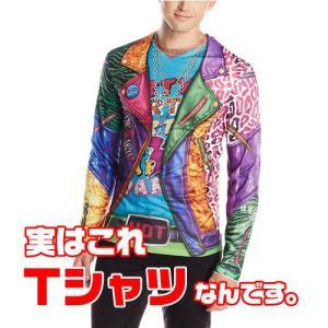 おもしろフェイク だまし絵 おもしろコスチューム Faux Real 派手なパーティースーツ プリント 長袖 Tシャツ コスプレ メンズ|acomes