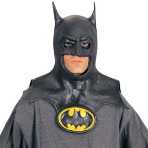 バットマン マスク コスチューム 胸のロゴ付 頭巾タイプ ゴム製のマスク acomes
