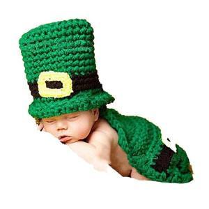 セント・パトリックスデー レプラコーン 赤ちゃん用 ビーニー帽 手編みの帽子 緑 写真撮影小道具 アイルランド ハロウィン コスプレ コスチューム 衣装 グッズ acomes