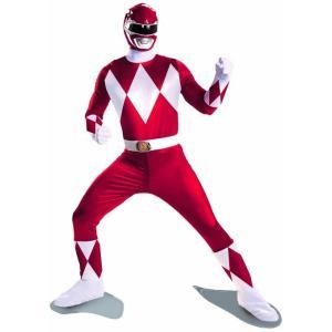 ハロウィン 大きいサイズ 戦隊 ヒーロー 全身タイツ パワーレンジャー コスチューム コスプレ 衣装 初代レッド 大人|acomes
