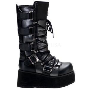 メンズ 厚底 ブーツ レースアップ ウェッジ プリーザー デモニア 大きいサイズ コスプレ ハロウィン|acomes