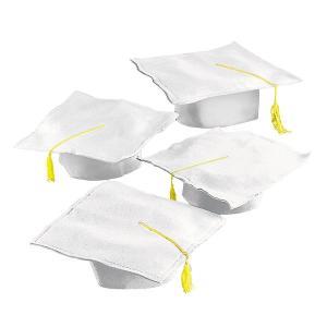 卒業式 スーツ ハロウィン 卒業 セレモニー 帽子 角帽 白 12セット グラデュエーション タッセル付き ホワイト 記念 劇 発表会|acomes
