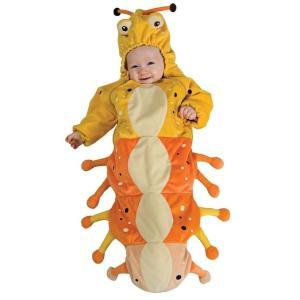 赤ちゃん 着ぐるみ コスチューム 子供 幼児 コスプレ ベビー 服 おくるみ ハロウィン 仮装 出産祝い プレゼント 黄色 いも虫 キャタピラ|acomes