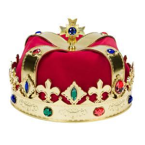 王冠 コスプレ かぶりもの 大人 子供 王様 仮装 変装 男女兼用 赤いベルベット式 acomes