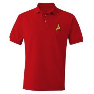 父の日 プレゼント  スタートレック 宇宙艦隊 ユニフォーム 大人用 ポロシャツ レッド チャーリー 宇宙大作戦 赤 機関 保安 ハロウィン|acomes