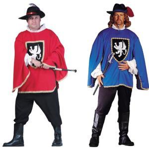 ハロウィン 中世 ルネッサンス コスプレ 大きいサイズ 衣装 マスケット銃兵 三銃士 大人 コスチューム 騎士 戦士 兵士 赤 青 服|acomes