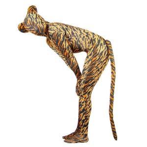 全身 タイツ 大人用 タイガー 柄 ハロウィン 虎 コスプレ パーティー キャット スーツ トラ シッポ acomes