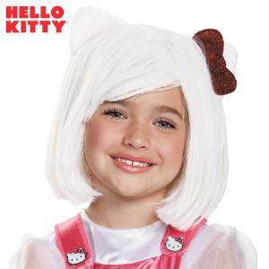 ハローキティ キティちゃん ウィッグ かつら 白髪 耳とリボン付き ショートボブ 子供用 ハロウィン コスプレ コスチューム acomes