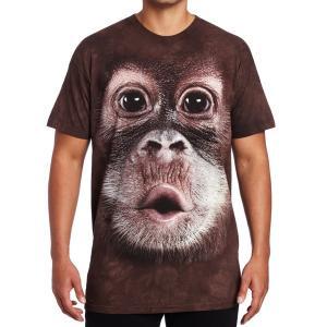Tシャツ 赤ちゃん オラウータン 男性用 半袖 ザ・マウンテン社製 超リアルなプリント 動物柄 丈夫 快適 かっこいい|acomes