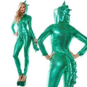 ジュラシック ボンバー セクシー ダイナソー 大人 女性 大きい サイズ 衣装 ハロウィン 恐竜 グリーン|acomes