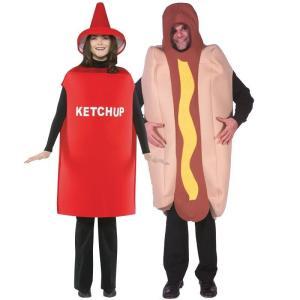 ハロウィン カップル ペア コスチューム コスプレ ケチャップ ホットドッグ セット 男女 大人 2人 仮装 衣装 食べ物 食品 おもしろ フード|acomes