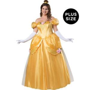 ハロウィン 美女と野獣 ベル 風 ドレス 大人用 大きい サイズ コスチューム プリンセス 黄色 衣装|acomes