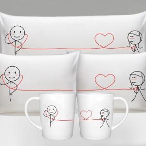 バレンタインデー クリスマス カップル ペアギフト 結婚祝い 聴診器で愛の確認 恋人 プレゼント 枕カバー 寝具 日用品 お揃い 雑貨 マグカップ ギフトセット|acomes
