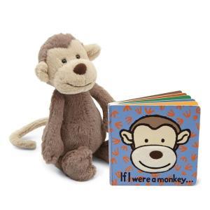 ジェリーキャット ぬいぐるみ さる モンキー 絵本付き バシュフル 動物 おもちゃ 玩具 英語教材 雑貨 王室御用達 セレブ御用達 出産祝い ギフト