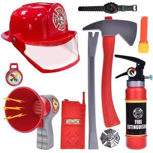 子供用 消防士 おもちゃ 10点セット ヘルメット 消火器 メガホン トランシーバー なりきり 仮装...