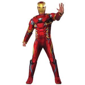 映画「シビル・ウォー/キャプテン・アメリカ」のアイアンマンの大人男性用マッスルチェストデラックスコス...