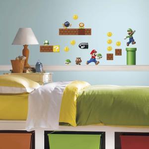 スーパーマリオブラザーズ 壁紙 ウォールステッカー 45枚セット シール インテリア  キャラクター グッズ テレビゲーム|acomes