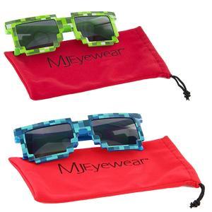 おもしろサングラス 8ビット モザイク 眼鏡 マインクラフト パーティ レイブ 目立つ 派手 グッズ テレビゲーム|acomes
