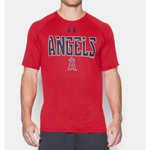 MLB メジャーリーグ ロサンゼルス・エンゼルス・オブ・アナハイム Tシャツ アンダーアーマー UA テック 半袖 メンズ 男性用 大リーグ 野球 ベースボール|acomes