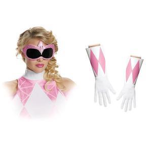 ピンクレンジャー 大人 女性用 マスク グローブ セット コスプレ 小物 ハロウィン イベント パーティー|acomes