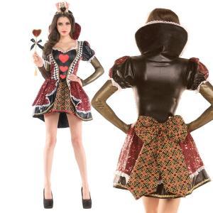 おなじみ「不思議の国のアリス」のハートの女王の大人用ドレスコスチュームです。赤いスパンコールが美しい...