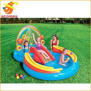 ビニールプール 水遊び レインボーリング 膨らませる 家庭用...