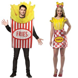 ハロウィン おもしろコスプレ おもしろいコスチューム フライドポテト 2点セット 大人 男性用 女性用 食べ物 フード 仮装 着ぐるみ|acomes