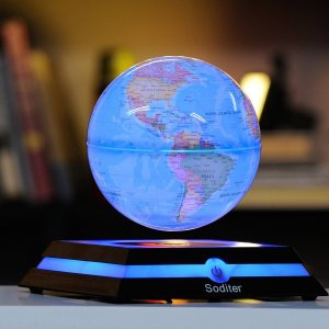 浮かぶ 光る 地球儀 LED おもちゃ Aoske製 サイエンストイ 知育玩具 世界地図 教育 グッズ|acomes