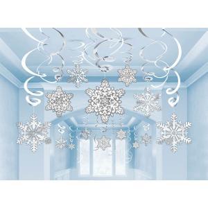クリスマス デコレーション グッズ 天井飾り 雪模様 雪の結晶 くるくる スワール 30セット|acomes