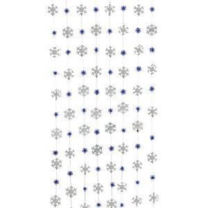 クリスマス デコレーション グッズ 雪模様 雪の結晶 青 くるくる スワール 195cm 12本セット acomes