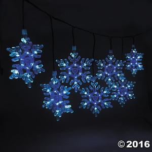 クリスマス デコレーション グッズ 天井飾り 光る 電飾 雪模様 雪の結晶 ライトアップ 9個セット 150cm acomes