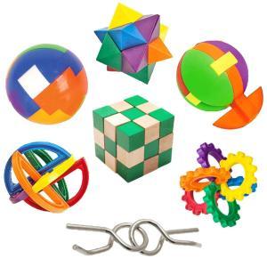 IQチャレンジセット IQテスト7種類の立体パズル 知恵の輪 脳のトレーニング 脳トレ 頭脳発達 知育玩具 おもちゃ|acomes