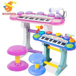 子供 楽器 キーボード & マイク 37 鍵盤 電子 ピアノ バンド おもちゃ ギフト プレゼント|acomes