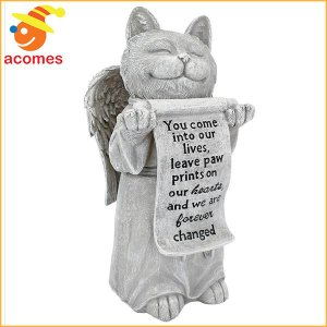 猫 お墓 ペット 天使ねこ 樹脂製 記念 碑 ネコ メモリー デコレーション|acomes
